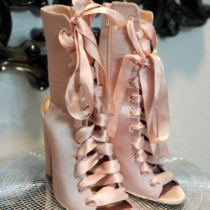 Aldo pink satin lace up heels